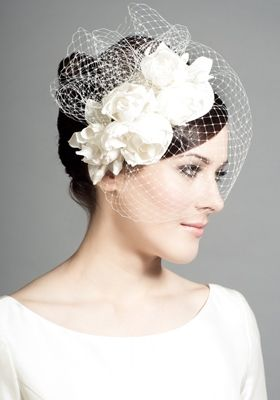 R1241 - Silk teardrop with silk taffeta roses and face veil