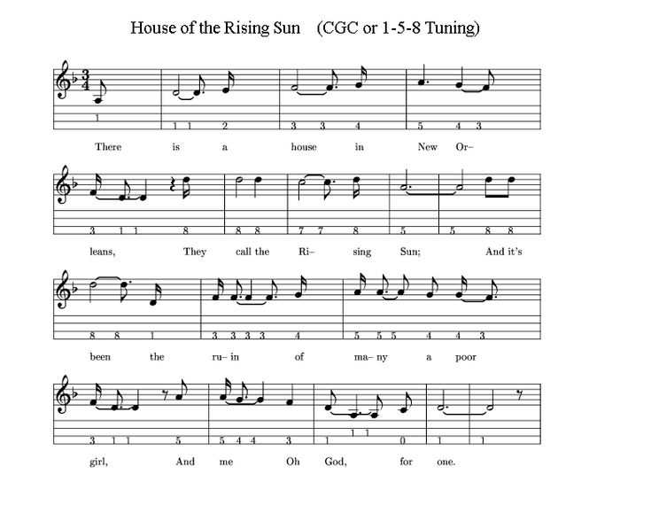 3 String Tabs: House of the Rising Sun - Cigar Box Nation