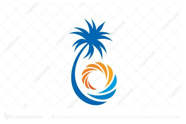 Logo for sale: Tropical Beach Logo. Unique tropical beach logo. palm tree seaside sea wave sun beach resort vacation holiday travel buy purchase sell on sale sold product business brand design graphic unique recognized professional software apps app applications application logo logos miami california san diego thailand bali indonesia malaysia coast coastal sand marina coastline shore resort bay ocean lagoon paradise beachy sunset sun tan sunbathe sunny