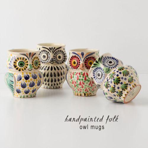 My Owl Barn: Anthropologie: Handpainted Folk Owl Mug
