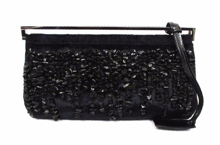 Gucci Black Silk Crystal Front Beaded Evening Bag Clutch