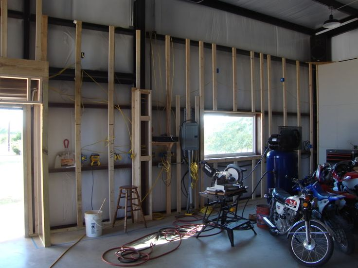 Finishing a metal building interior use 1x3 furring for Finished garages interior