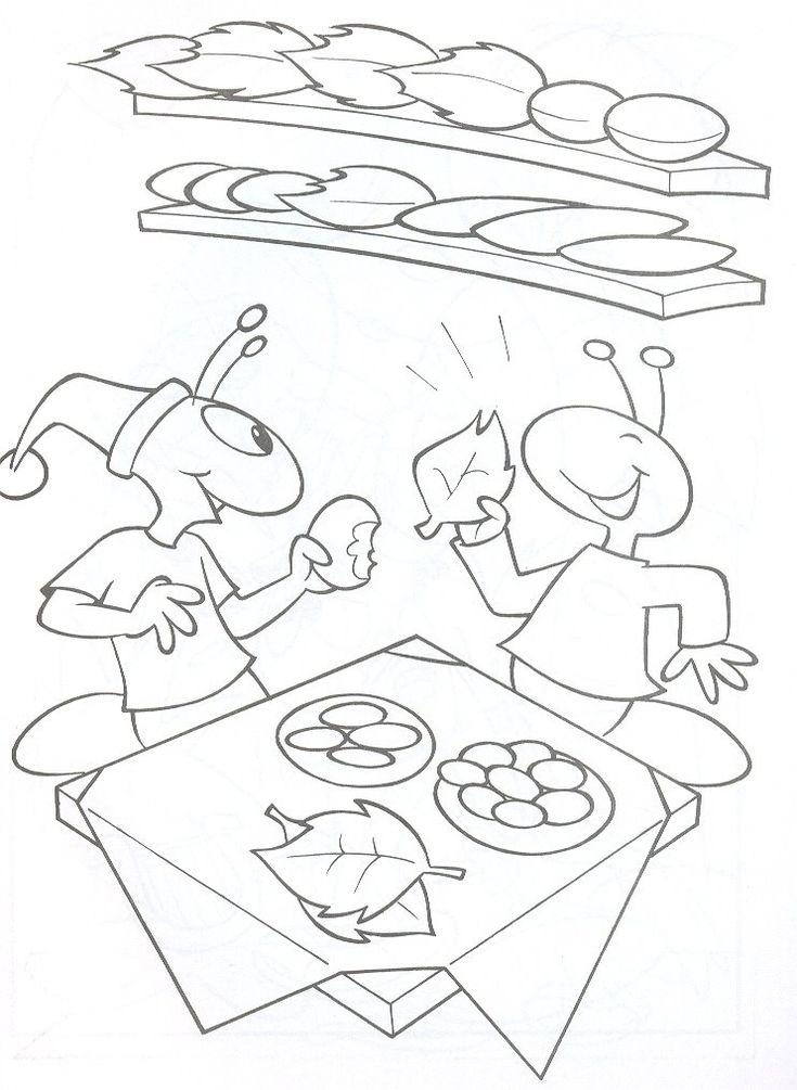 Desenho da Cigarra e a Formiga para colorir - Dicas pra Mamãe