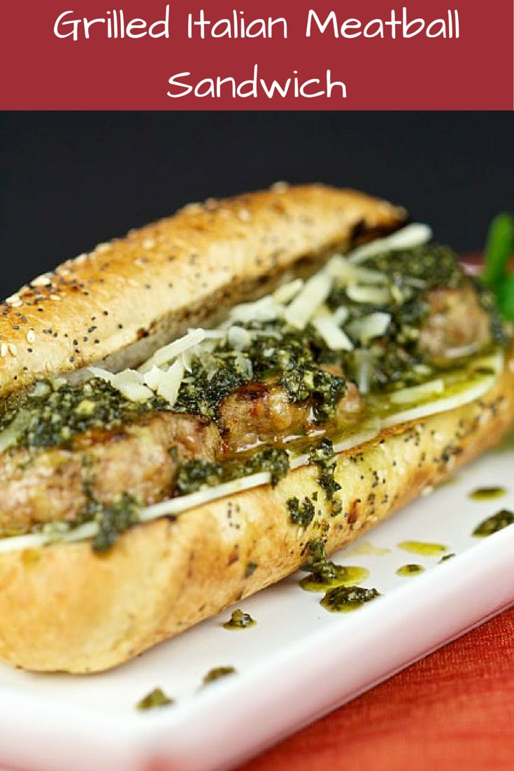 Grilled Italian Meatball Sandwich with pesto sauce | Here is my take ...