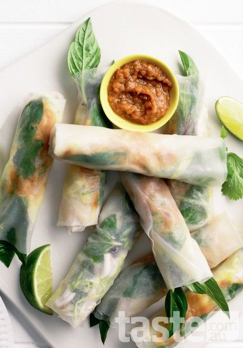 Food : Eleven Really Delicious Rice Paper Roll Recipes  Satay Chicken Rice Paper Rolls via Taste