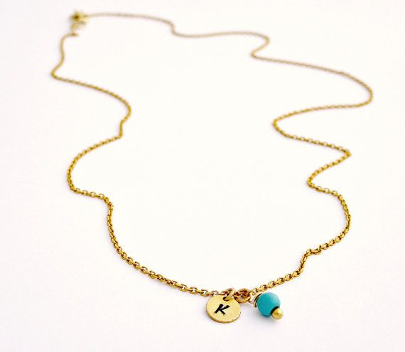 Tiny Gold Initial Necklace with Birthstone by SoCoolCharms on Etsy, €21.10