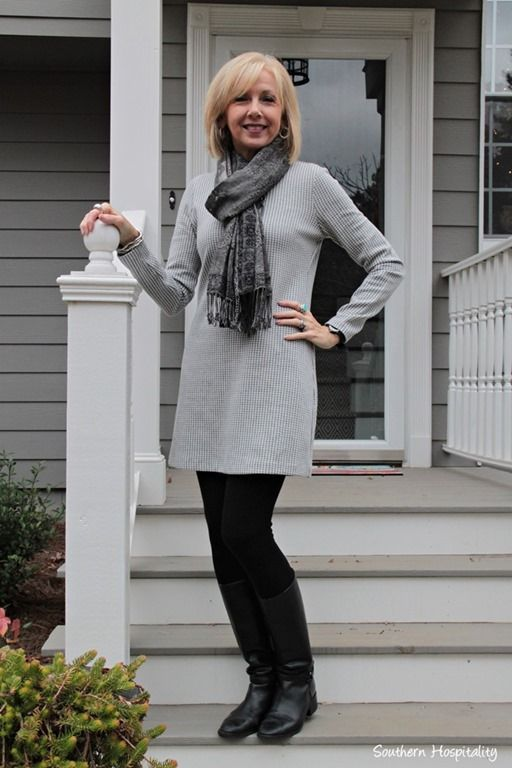 dress and boots from http://southernhospitalityblog.com/fashion-over-50-boots-and-dresses/