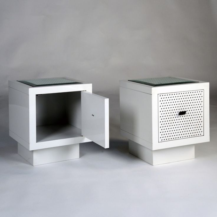 how cool are these little guys? Pair Of Bed Side Tables By Matteo Thun, Italy 1986