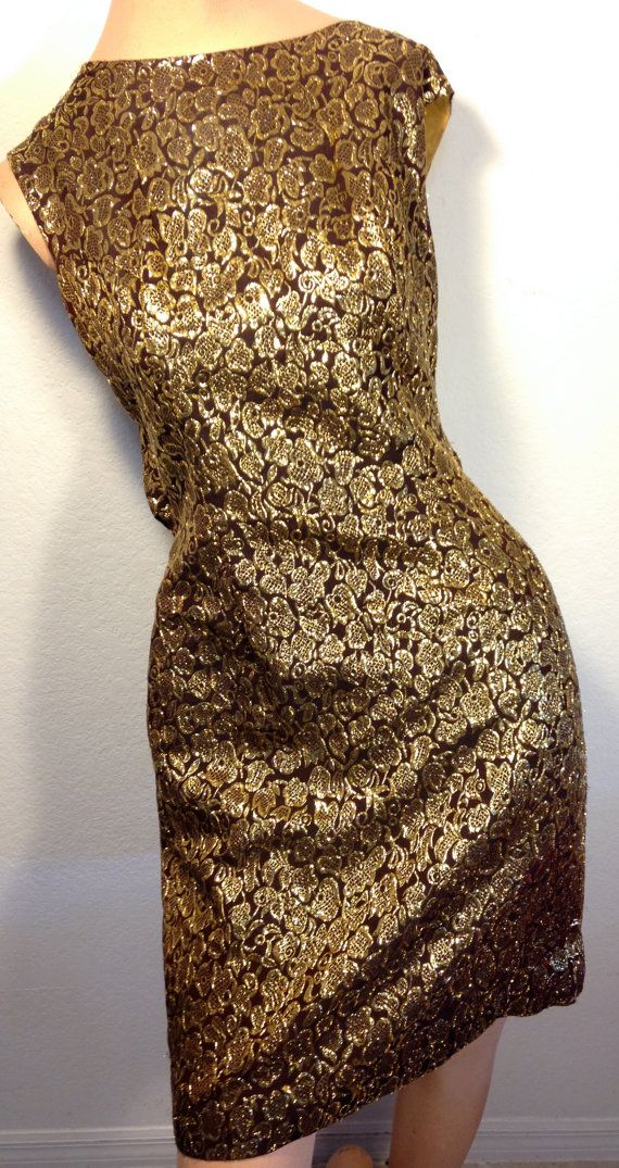 FREE  SHIPPING   1950's Gold Brocade by VintageRevengCouture