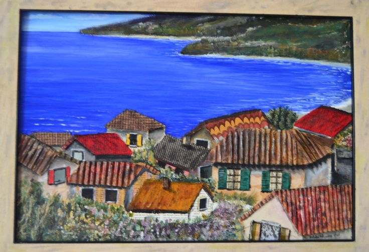 paesaggio marino tecn. mista su tav. 60 x 40 1988 autore Natalia Albanese