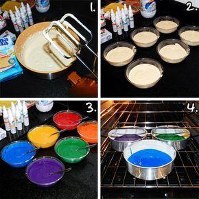 Receita e passo a passo com fotos ensinando como fazer o Rainbow Cake (bolo arco-íris).
