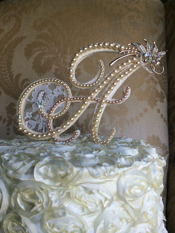 custom monogram wedding cake toppers with von TheCrystalFlower