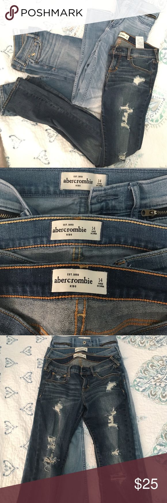 Abercrombie Girls Jeans Good condition, she grew out of them, one pair with the zippers on the pockets have a VERY small red spot on them on right leg nothing to make you not want them. Selling all together to get ride of them fast. Straight/skinny style abercrombie kids Bottoms Jeans
