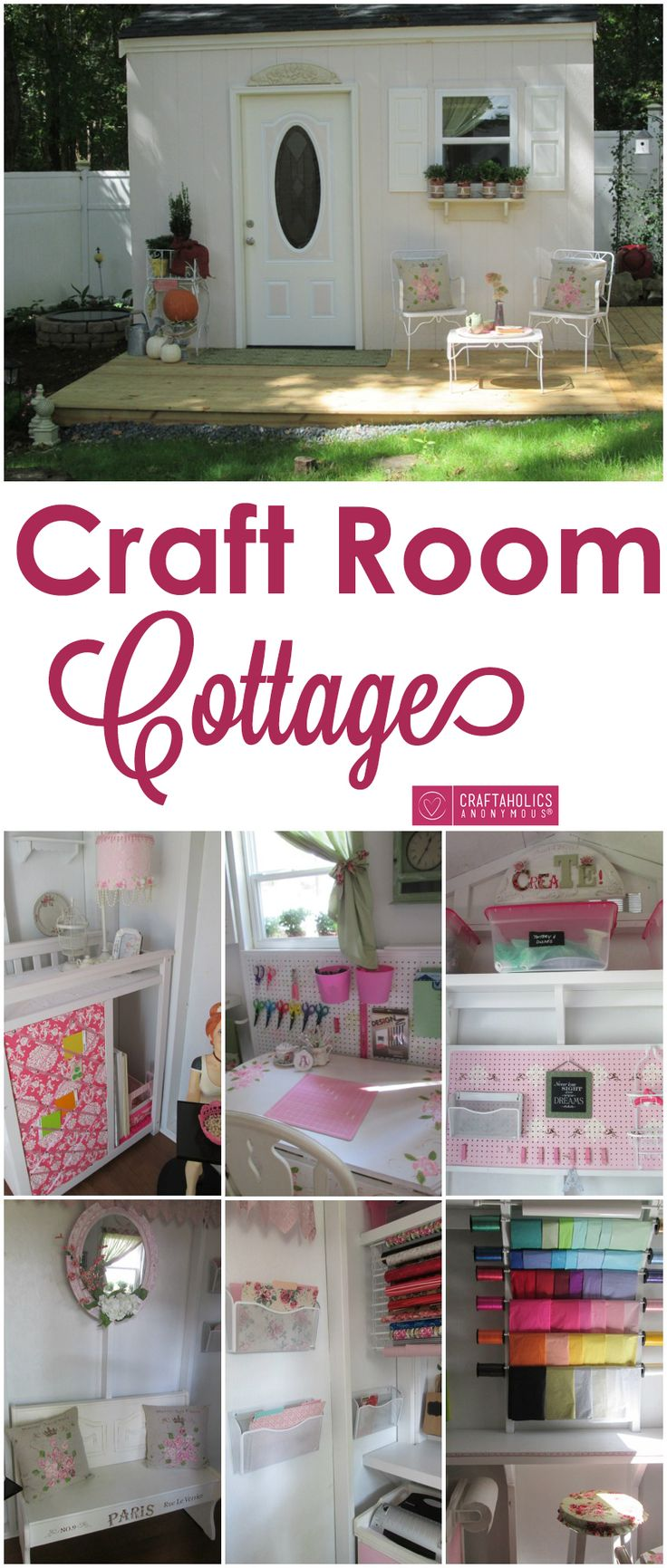 Check out this craft room tour of Ana's craft cottage! Pretty pink accents and DIY storage makes this craft room pretty and perfect for crafting! ||| These small spaces outside of the home are growing on me. Not wholly convinced I'd want one, but I'm intrigued. :)