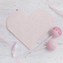 Set 20 papieren servetten Pink heart – De Gele Flamingo