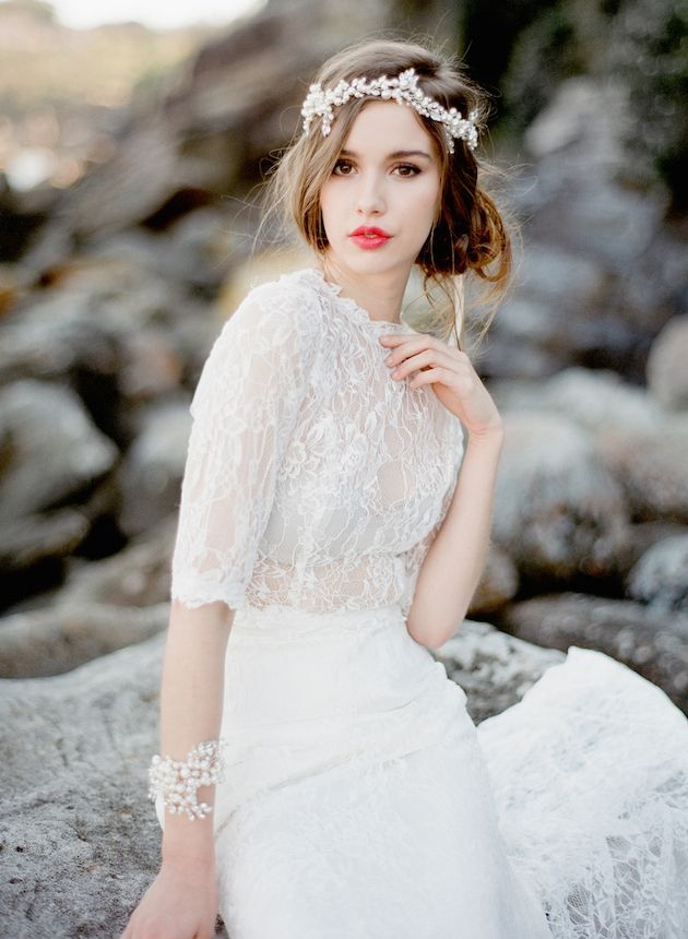 pearl bridal accessories, lace + the perfect red lip