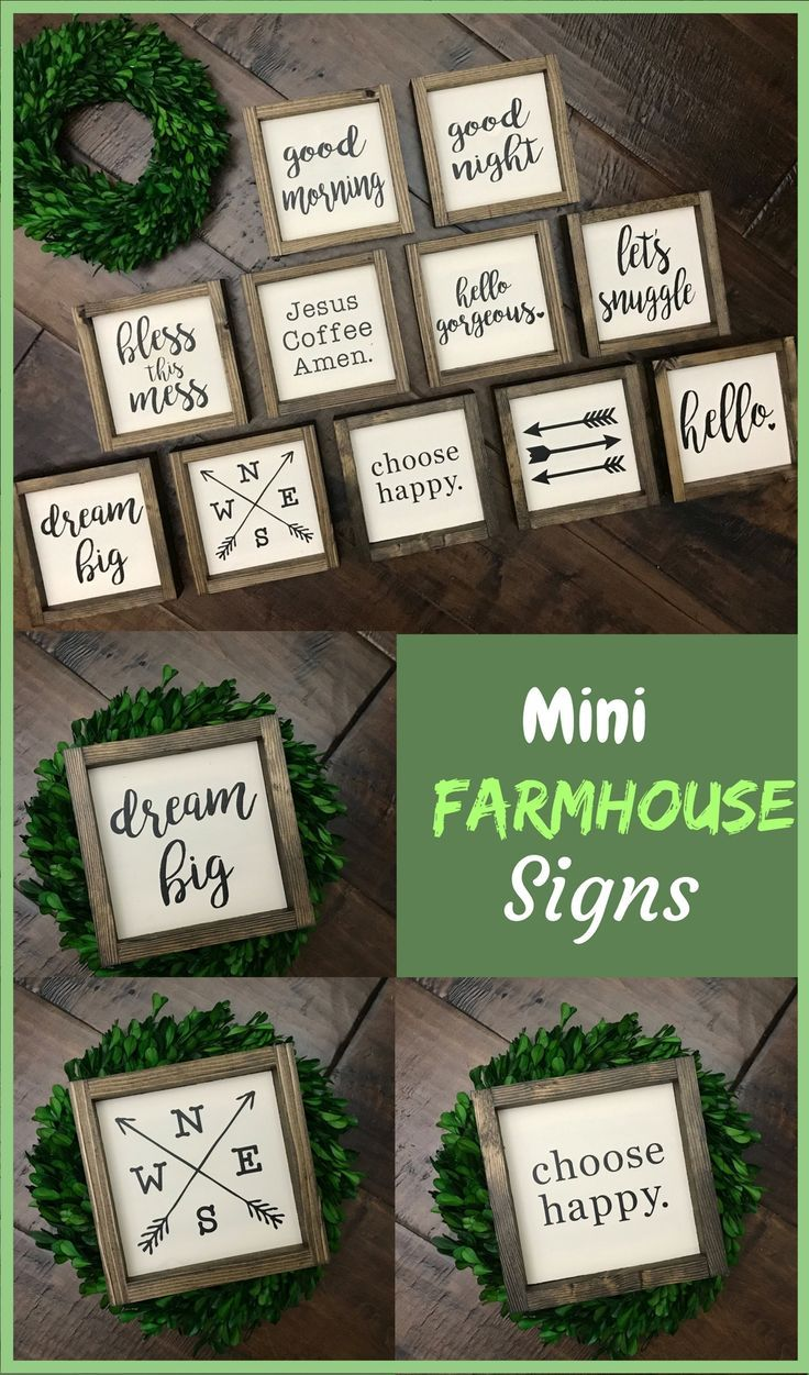 This is a great collection of Mini Farmhouse Signs. Would go great with farmhouse inspired home decor. Farmhouse Style Decor | Farmhouse Sign | Dream Big Hello Gorgeous Arrow Choose Happy Let's Snuggle +MORE! #farmhousestyle #farmhousedecor #ad