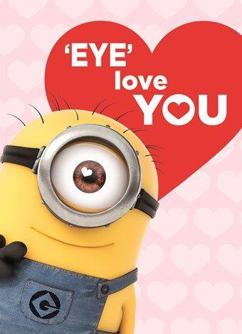 Liefde kaart - Vriendschapskaart - valentijn minion eye love you