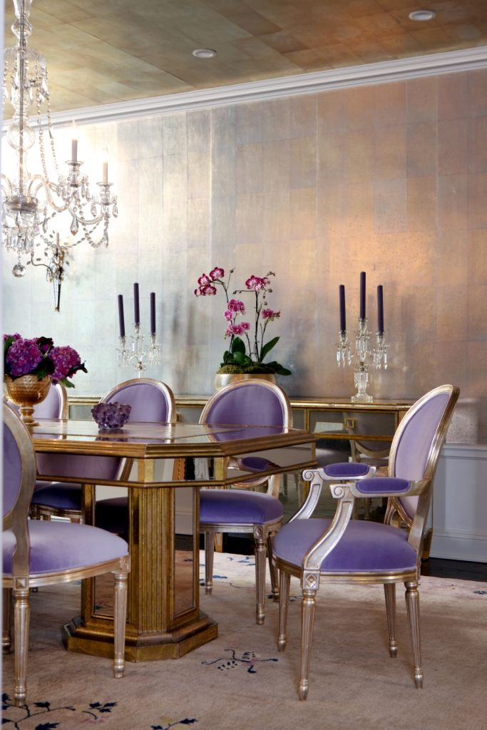 Elegant Dining Room With Purple Accents