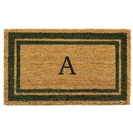 Momentum Mats Sage Green Border Monogram Doormat (1'6 x 2'6), Beige