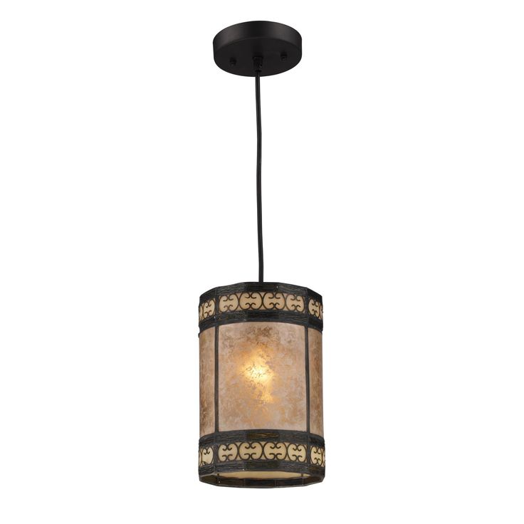 Elk Mica Tiffany-style and Tan Mica 1-light Pendant