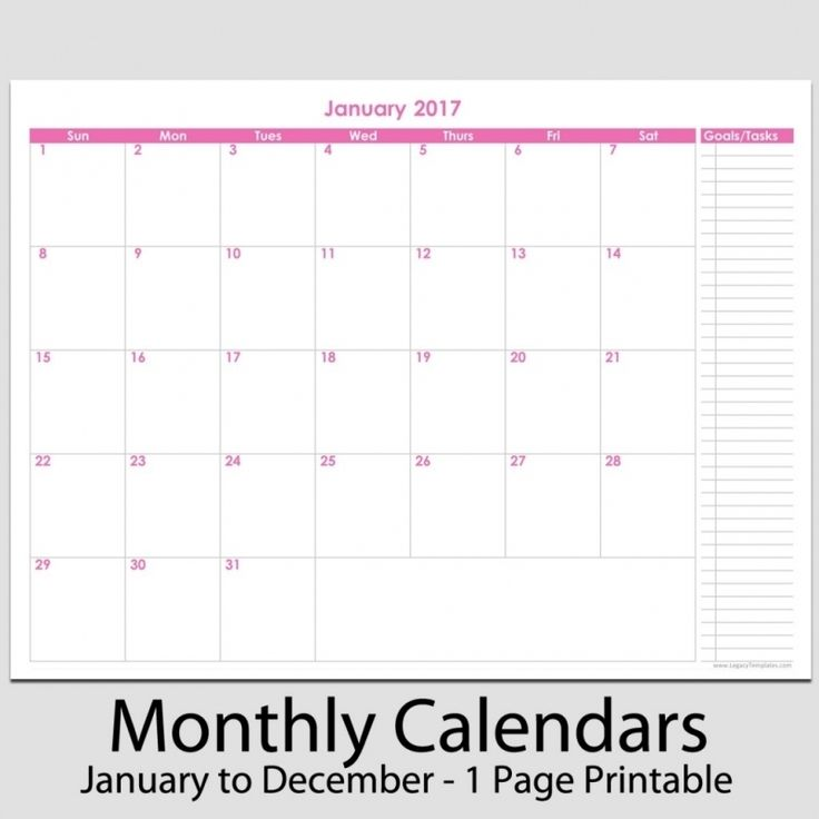 monthly task calendar