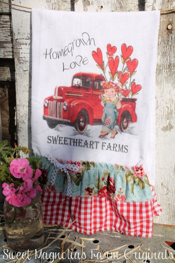 Valentine Flour Sack Kitchen Towel by SweetMagnoliasFarm on Etsy, $18.50 sweet Magnolias Farm Design ©