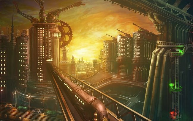 Late Afternoon Train Travelling Through A Steampunk City Wallpaper How To Geek Afternoon City Steampunk City Steampunk Wallpaper Steampunk Background