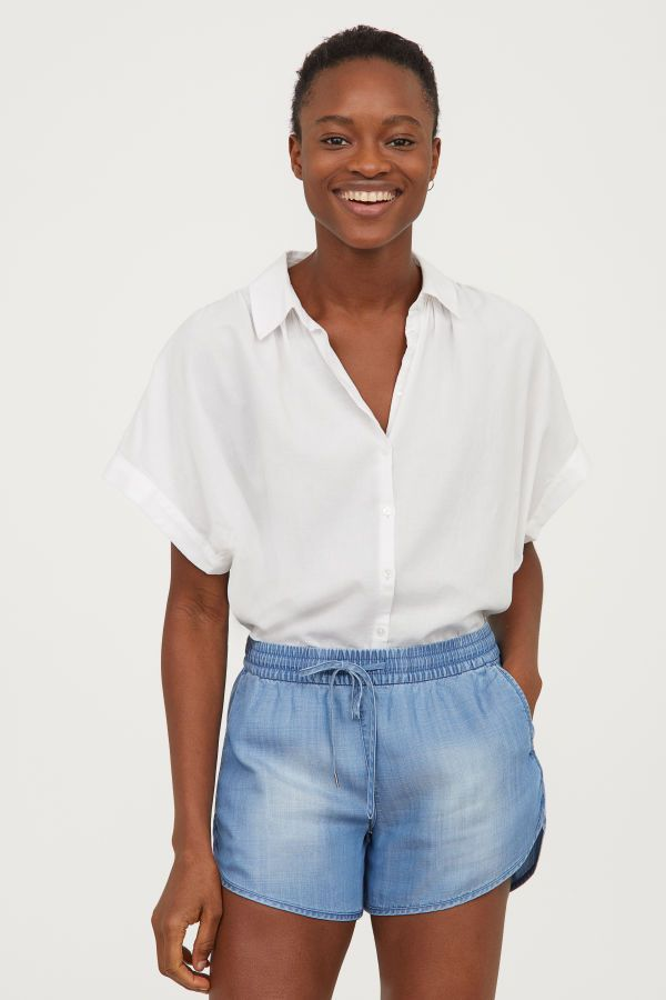 237d70c530 Lyocell Shorts | Light blue | WOMEN | H&M US | basics | Short shirts ...