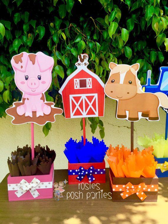 Granja tema cumpleaños partido invitado madera centro de mesa