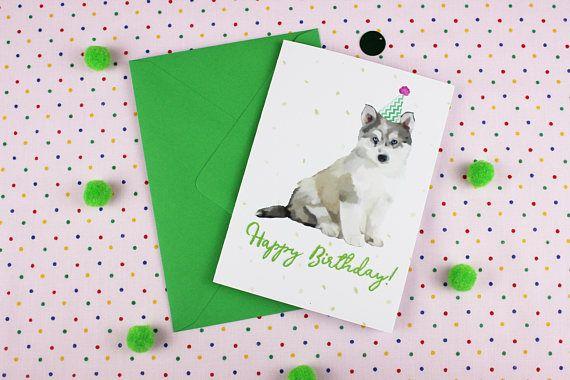 Husky Birthday card / Husky Card / Personalised Card / Husky / Etsy / Dog Card / Cute card / Boyfriend card