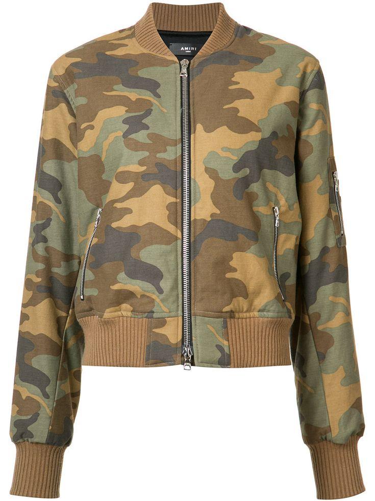 Green cotton camouflage print bomber jacket from Amiri.   #fashion #jackets #winter #women #trendalerts #outerwear #nye2018 #nye