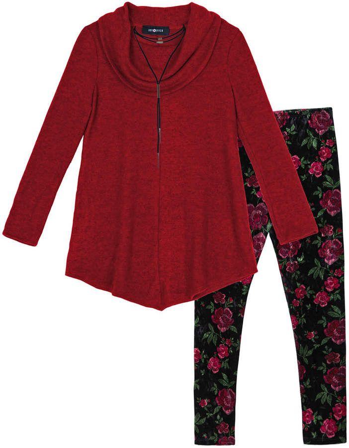 5ac25094d5a6f Iz Amy Byer Girls 7-16   Plus Size IZ Amy Byer Cowlneck Sweater Tunic    Leggings Set with Necklace