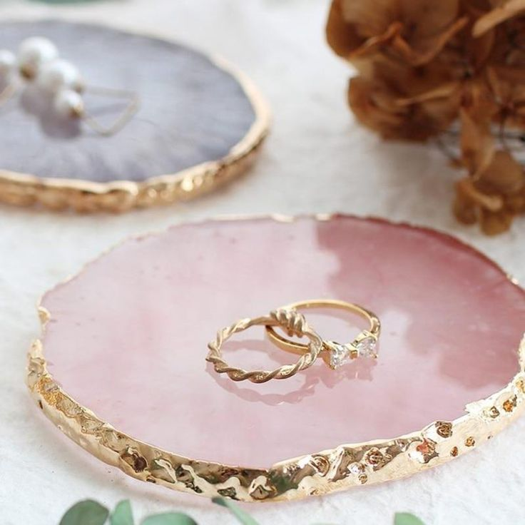 epoxy resin Crystal agate ring dish jewelry holder moonstone white and emerald with gold accents