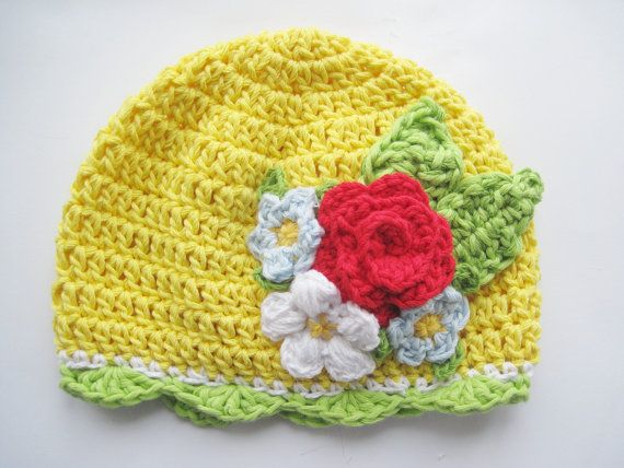 SAlE Clearance Flowers Baby Girl Hat Yellow by KnitCrochetbyMarina