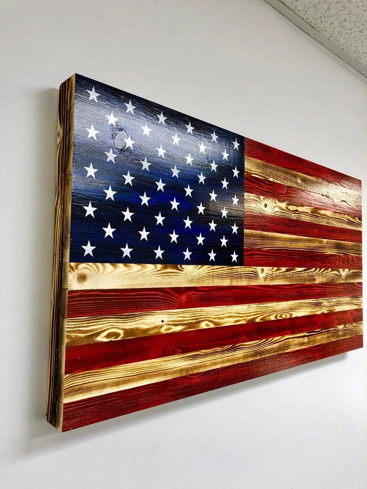 Rustic Torched Burned Wood American Flag Stars Stripes