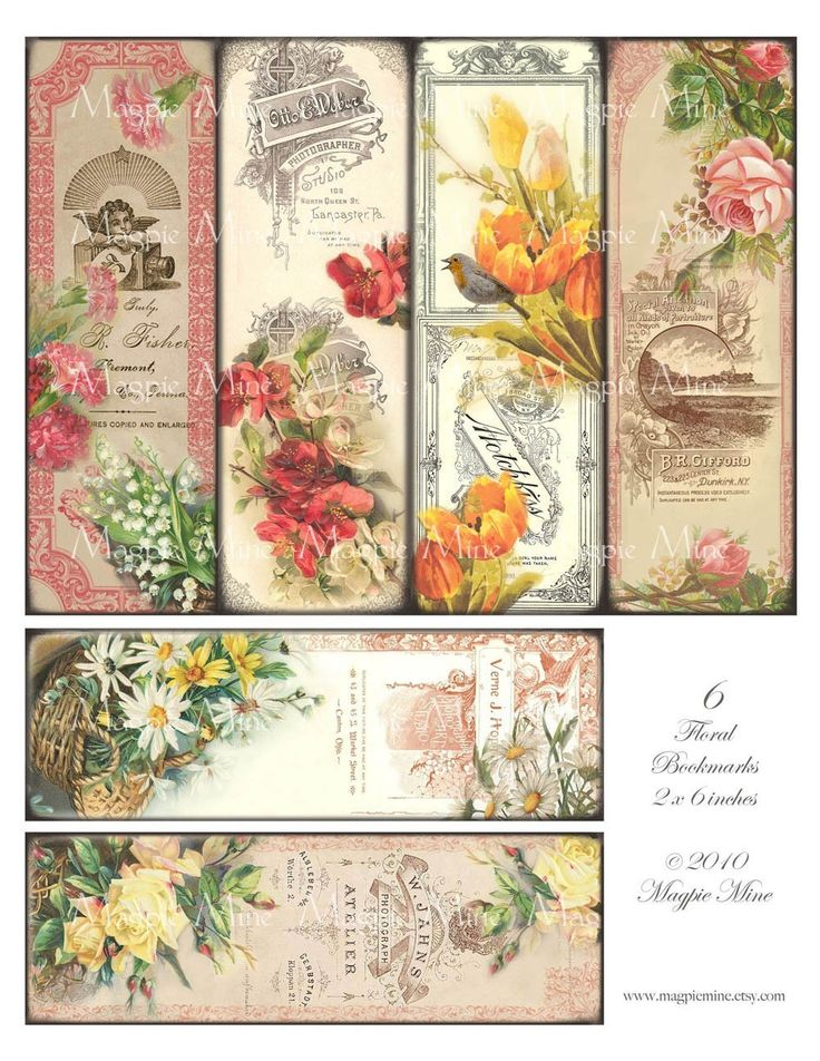 Victorian Floral Bookmarks Printable Vintage Roses by MagpieMine
