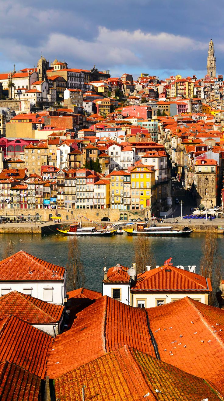 Cinematic View of Douro river at Porto, Portugal
