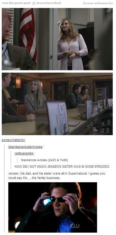 Jensen's family in supernatural