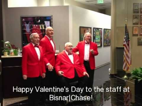 Bisnar|Chase staff was surprised with a singing quartet for Valentine's Day!    Courtesy Bisnar|Chase, www.bestattorney.com