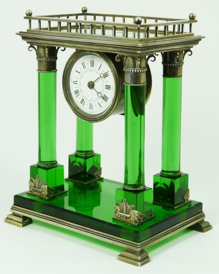 French sterling silver and emerald crystal mantle clock