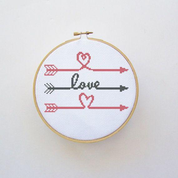 Love Arrows Cross Stitch Pattern  PDF File  by threadsandthings1