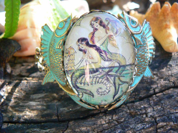 mermaid bracelet cuff verdigris fish cuff mermaid jewelry mermaid cameo siren fantasy resort wear cruise wear beach wear hipster gypsy boho