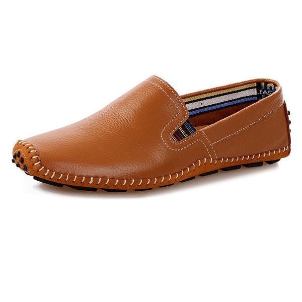 Big Size Men Leather Sewing Slip On Toe Protecting Casual Doug Shoes ($27) ❤ liked on Polyvore featuring men's fashion, men's shoes, mens slipon shoes, mens leather slip on shoes, mens slip on shoes, mens summer shoes and mens slip on loafers