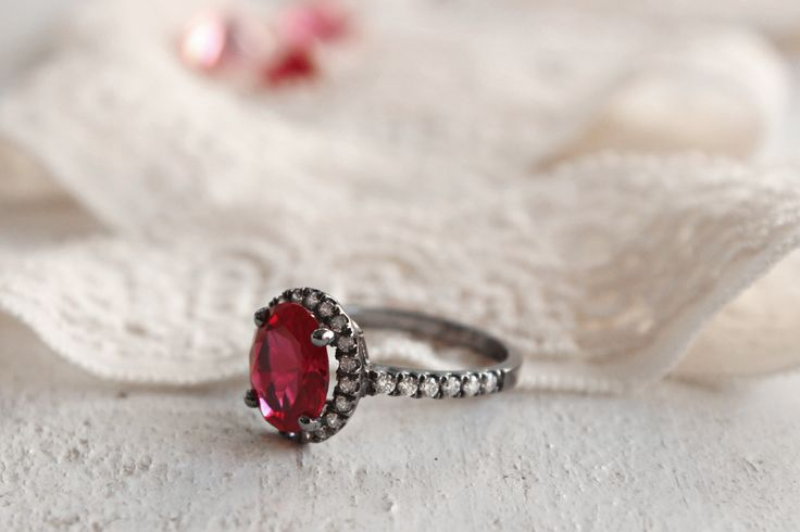 Halo Ruby Ring Ruby Silver Ring Ruby Promise Ring Gold /
