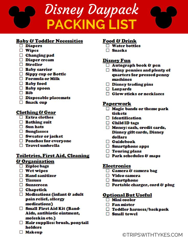 Packing List for Your Disney Daypack (Free Printable!) - Trips With Tykes