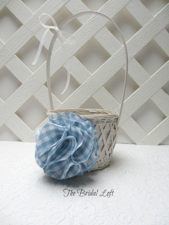 Light Blue Gingham Flower Girl Basket, Gingham Wedding, Picnic Wedding, Matching Items Available, by Bridal Loft