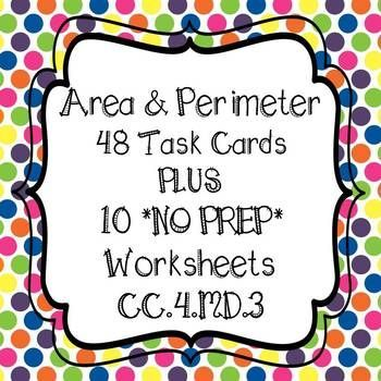 **48 Area & Perimeter Task Cards ** WITH 10 WORKSHEETS!! 4th Grade Common Core Aligned 48 Task Cards are color coded for easy organizing *purple = 16 - Perimeter - Find perimeter, find missing sides, &; word problems *green = 16 - Area - Find area, find missing sides, &; word problems *pink = 16 - Area of combined rectangles, area of shaded regions of two rectangles, word problems