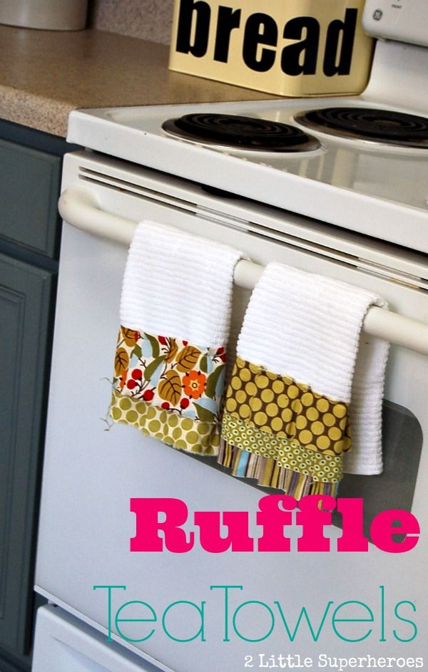 Easily add ruffles to an inexpensive pack of white tea towels from Target.