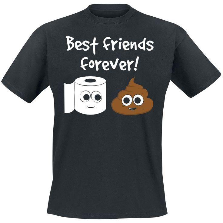 """Best Friends Forever!  - painatus edessä - pyöreä pääntie - normaali mitoitus  Vessapaperi ja uloste ovat luotu toisilleen. """"Best Friends Forever!"""" - paita osoittaa että nämä kaksi ovat vakavassa suhteessa ja kutakuinkin parhaat ystävät. Kuva: suloinen paperirulla hymyilee ulostekasalle."""